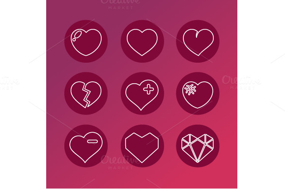 Vector Set Of Love Signs 9 Hearts