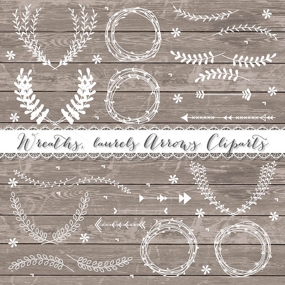 Laurel Wreath Arrow Wedding Clipar