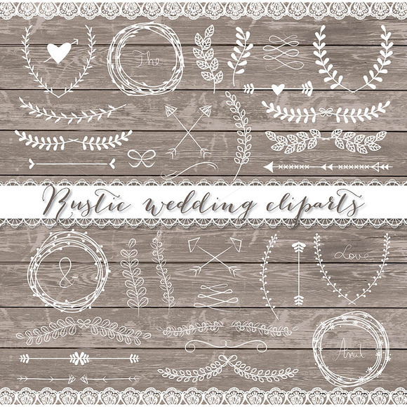 Vector Rustic Wedding Cliparts