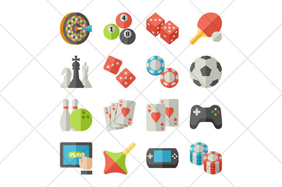 Games And Toys Flat Icons