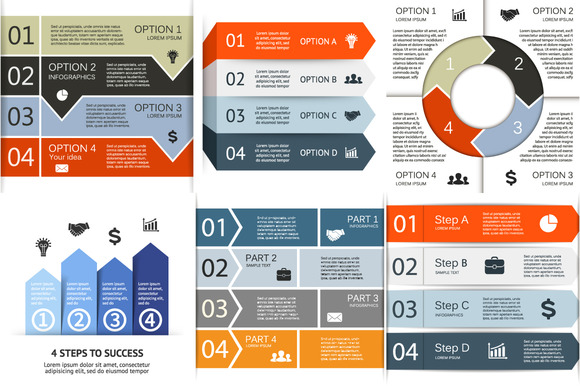 6 Infographics For 4 Options Set 2