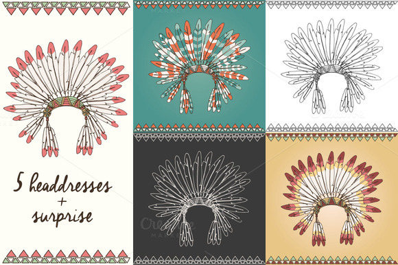 5 Indian Chief Headdresses Gift