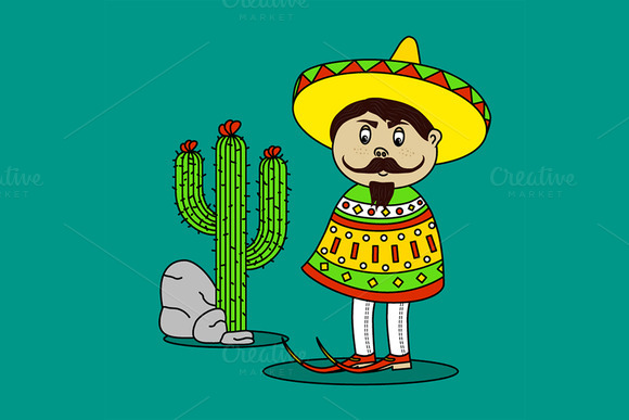Mexican Man Standing By A Cactus
