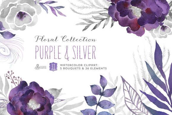 Purple Silver Floral Collection