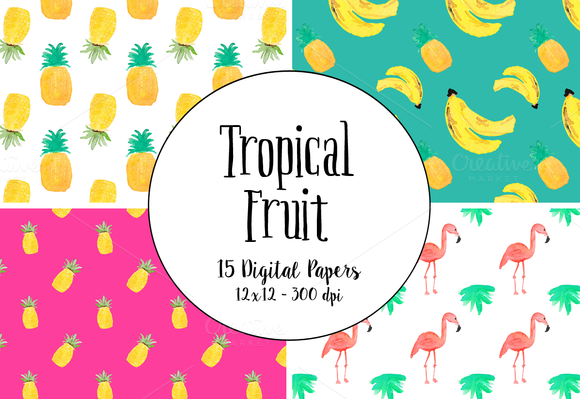 Watercolor Tropical Fruit Papers