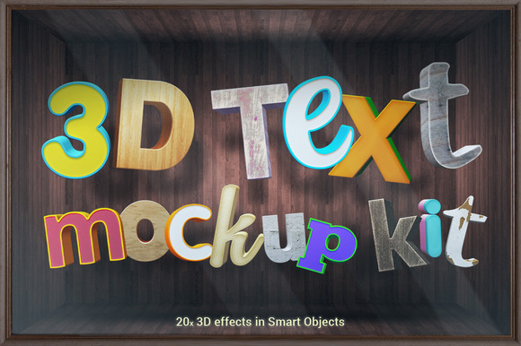 3D Text Mockup Kit Smart Objects