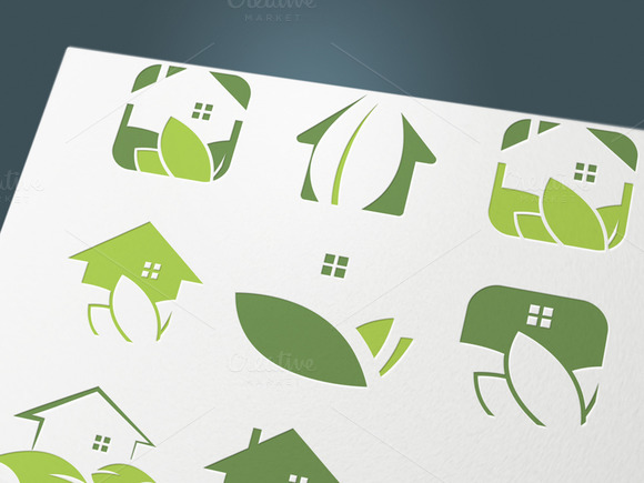 Set Of Icons Green Houses