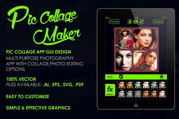 Pic Collage App GUI Design