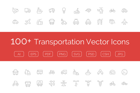 100 Transportation Vector Icons