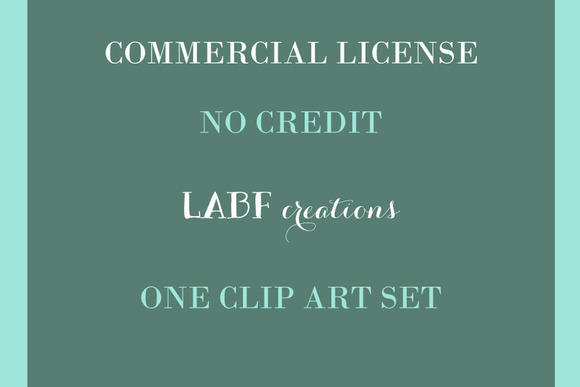 Commercial License One Clip Art Set