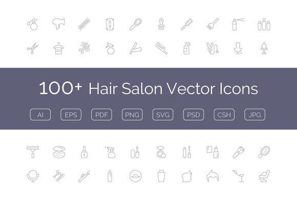 100 Hair Salon Vector Icons