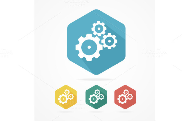 Gear Icon Set Flat Design Style