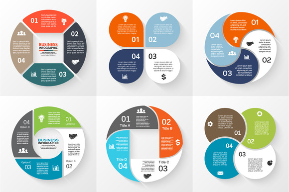 Flat Infographics For 4 Steps Set 3