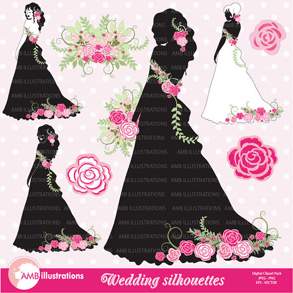 Wedding Silhouettes Clipart 877