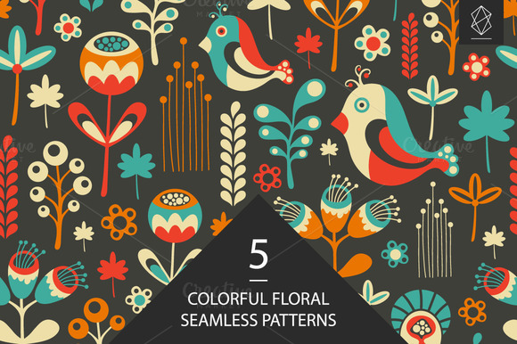 Birds And Crocodiles Pattern Set