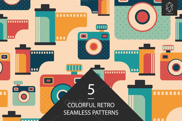 Retro Media Seamless Pattern Set