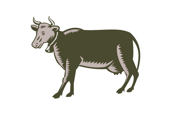 Dairy Cow Side View Woodcut
