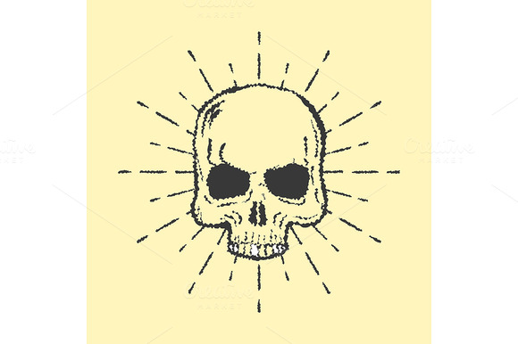 Skull With Sunburst Isolated