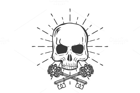 Skull With Crossed Keys Isolated