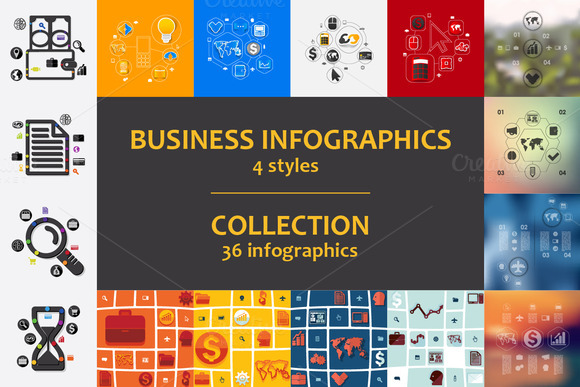 36 Business Infographics 4 Styles