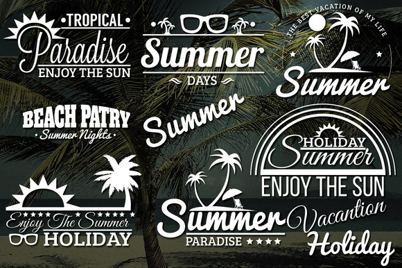 Summer Retro Labels