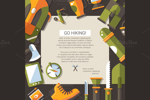 Flat Design Camping Hiking Card