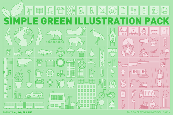 Simple Green Illustration Pack