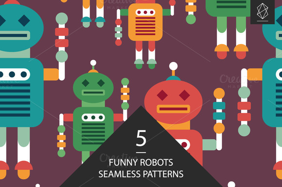 Funny Robots Seamless Pattern Set