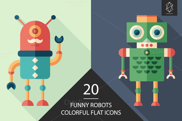 Funny Robots Colorful Flat Icon Set