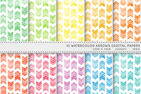 Watercolour Arrows Digital Paper