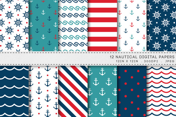 Nautical Navy Digital Paper