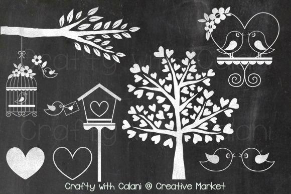 Chalkboard Love Bird Heart Tree