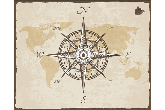 Vintage Nautical Compass Old Map