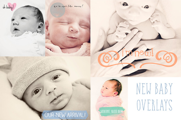 Watercolor New Baby Overlays