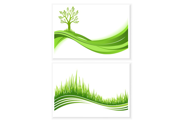 Set Of Green Tree And Grass Growth
