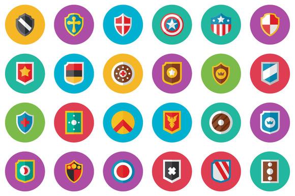 40 Shield Flat Icon Set