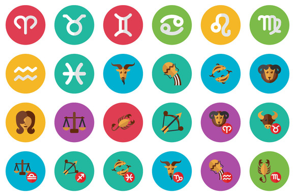 38 Zodiac Flat Icon Set