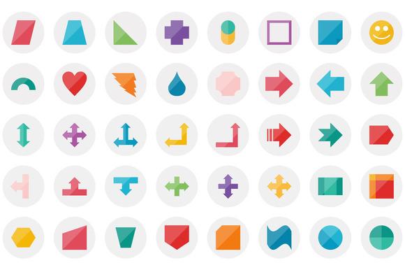 111 Shapes Flat Icon Set