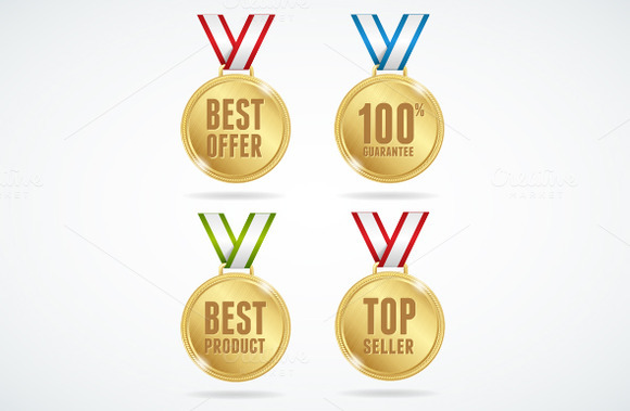 Vector Set Of Medals Sale Concept