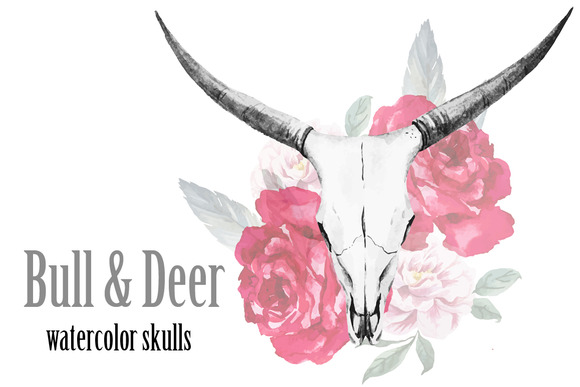 Watercolor Bull And Deer Skulls
