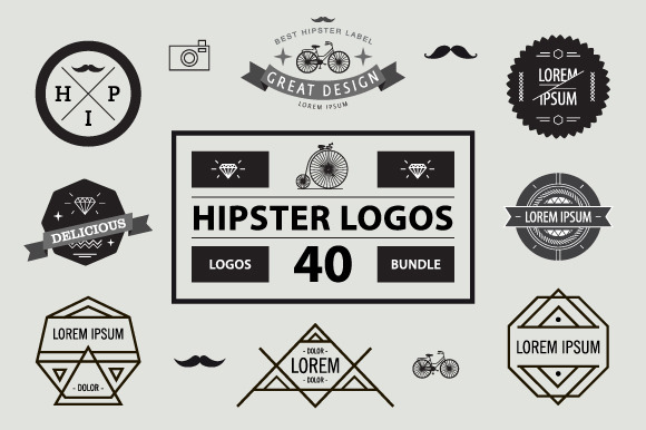 40 HIPSTER LOGO BUNDLE