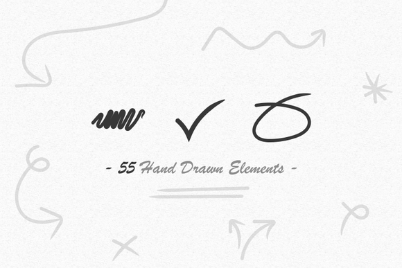55 Hand Drawn Elements