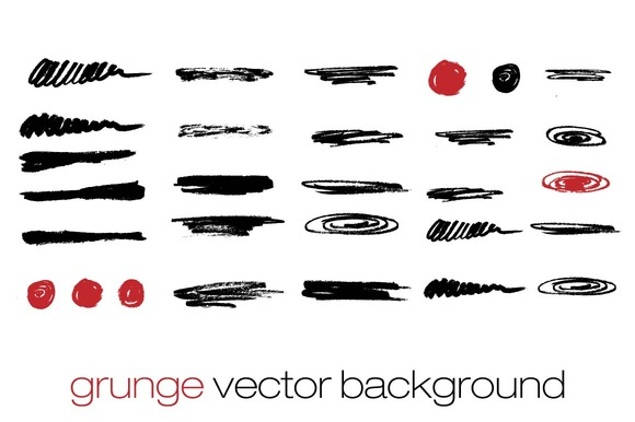 Vector Set Of Brush Strokes