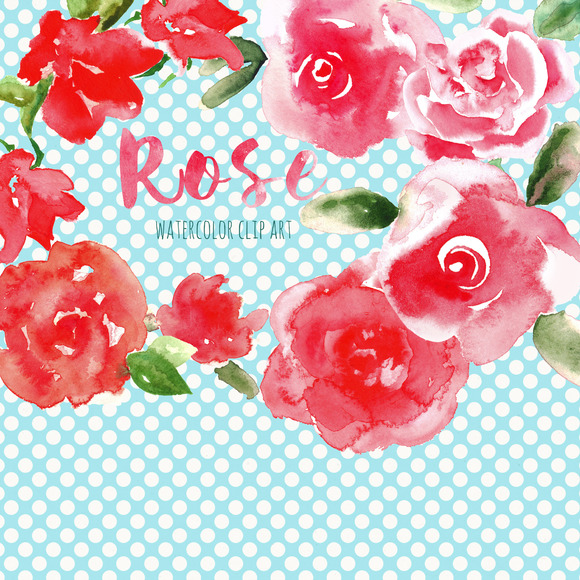 Red Rose Watercolor Clip Art