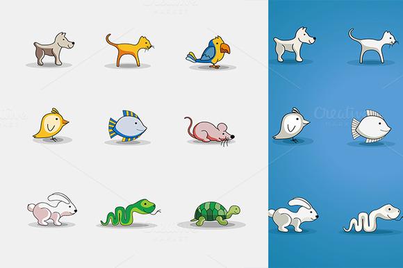 Cute Cartoon Pets