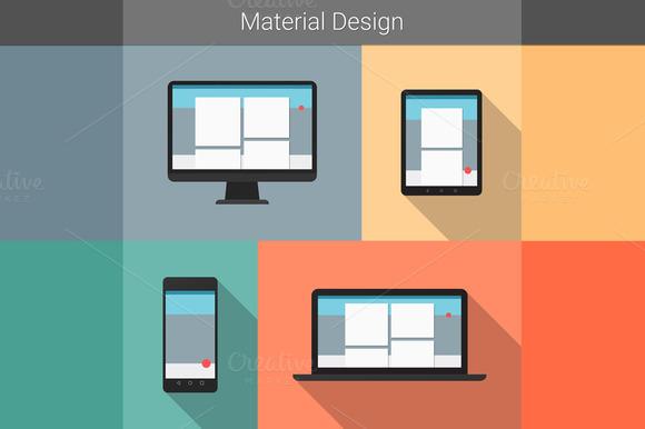 Material Design Gadgets Illustration