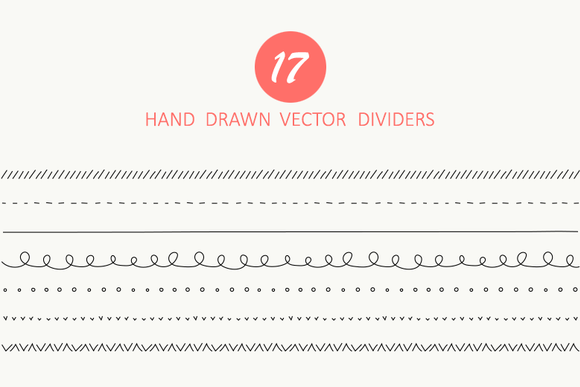 17 Hand Drawn Vector Dividers