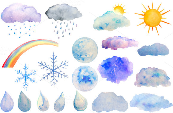 Watercolor Weather Sun Moon Clipart