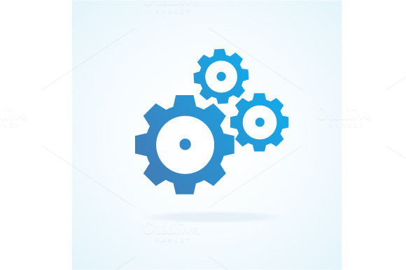 Gear Icon Flat Design Style