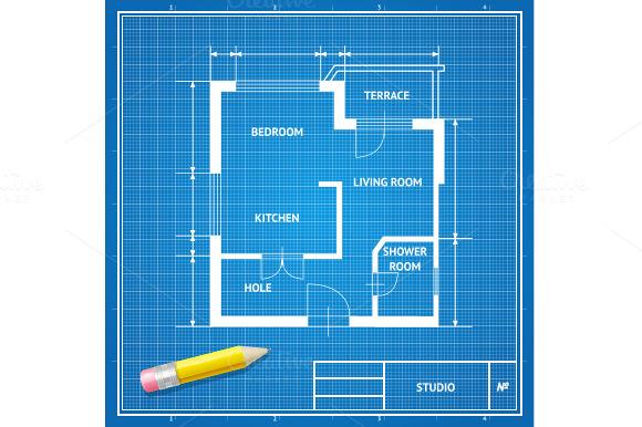 Vector Architect Blueprint Flat
